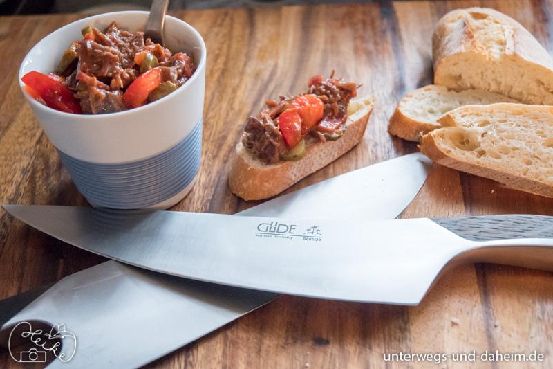 Rezept für Rindfleischsalat, geschnitten mit den besten Messern von Güde